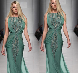 2016 Tony Wards Evening Dresses Beaded Green Chiffon Runway Floor Length Long Prom Dresses Ruched Luxury Mermaid Wedding Gowns dhyz 02