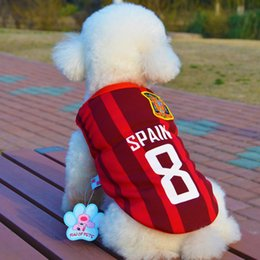 Wholesale 2016 Hot Fashion Dog Apparel Ecropean Cup Dog Clothes Pet Supplies Football Jersey outdoor In the summer