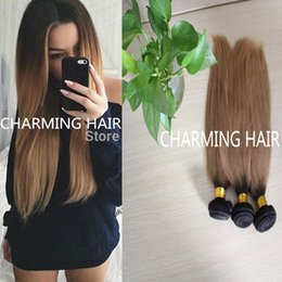Brazilian Ombre Hair Extensions Straight Ombre Two Tone Human Hair Weave Ombre Brazilian Hair 3 Bundles dark root Straight Hair
