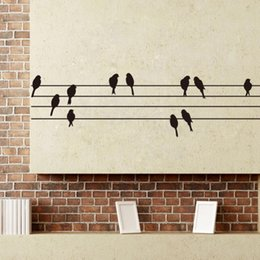 Wholesale birds on music Telephone pole background wall decal removable waterproofing vinyl wall sticker