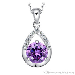 925 stamped silver crystal jewelry water drop pendant statement necklaces wedding vintage woman charms