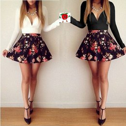 Wholesale 2015 Spring Sexy Women Low cut V neck Long sleeved Floral Mini Dress Party Club Dresses Vestidos Femininos De Fiesta Hot Sale