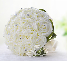Wholesale Romantic Ivory Artificial Rose Bridal Bouquets Beautiful Heads Bridesmaid Flowers Groom Full Love Wedding Favors Unique Design WF002