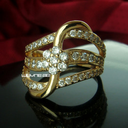 Size 7 18K Gold GP Ring Sapphire Engagement Jewelry (r230)