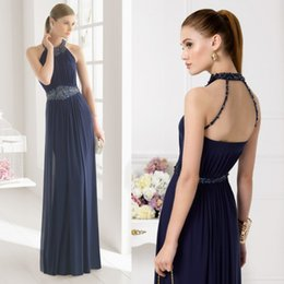 Wholesale Dark Navy Long Mother Of The Bride Dresses Beads Hollow Back Wedding Formal Dress Mothers For Bridal Aire Barcelon Evening Prom Gown