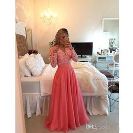 Lace Long Prom Dresses Islamic Party Dress New Long Sleeve V Neck A Line Custom Made Party Evening Dresses Gowns