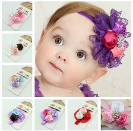 New Baby Girls Kids headband silk Flowers lace Hair Accessories Lovely Roses Pearls Hair Bands Pretty Headbands Infant Headbands 6 styles