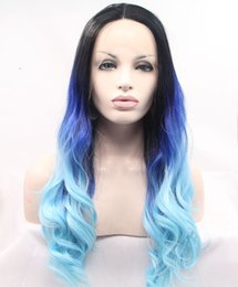 new arrival ombre blue wigs body wave hair synthetic lace front wig for black women heat resistant fiber free shipping