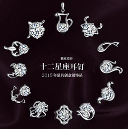 Wholesale 925 silver fashion in Europe and America to restore ancient ways the zodiac stud earrings