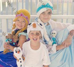 Wholesale Girls Crochet Cap Elsa Anna Hat Children s Knitted Caps Newborn Infant Toddler Hats Kids Winter Beanie Skullcap Earflaps Ear Muff
