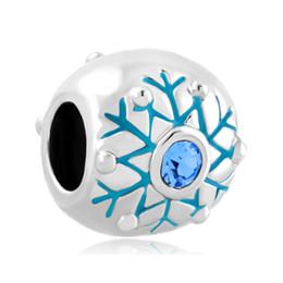 10pcs per lot Hand enamel December Blue Crystal Rhodium plating Snowflake Element Charm Bead Fit Pandora Bracelet