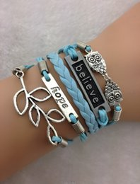 Wholesale Owls Believe Hope and Lucky Leaf Charm Bracelet in Antique Silver Baby Blue Wax Cords Min order