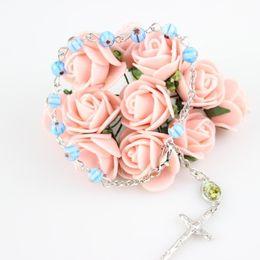 European Fashion Religious Jewelry 6 mm Glass Rosary Bracelet Metal Cross Pendant Bracelets New Arrived Hot Sale