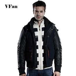 Winter Jacket Men Casual Spliced Faux Leather Long Sleeve Woolen Coat Thicken Slim Fit Men Hooded Coat Z1950