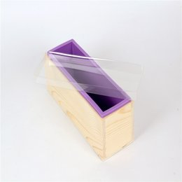 Wholesale Rectangle Silicone Soap Mold With Wooden Box DIY Loaf Swirl Tools Baking Cake Molds D0018