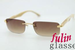 2015 New Fashion THE ARTIST White Buffalo Horn Sunglasses eyeglasses Rimless Brand Glasses Frame Size:56-18-135mm