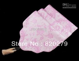Cloud Pattern Pink Table Runners Luxury Silk Brocade Length Coffee Table Cloth For Christmas Birthday Wedding Party Decorating