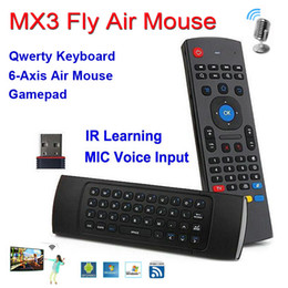 Wholesale X8 Ghz Wireless MX3 Mini QWERTY Keyboard with Mic Voice IR Learning Mode Fly Air Mouse Remote Control MX for PC Android TV Box MX3 M IPTV