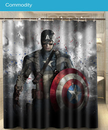 Wholesale Captain America Hot Popular Movie Custom x180cm Nice Shower Curtain Waterproof Bath Curta