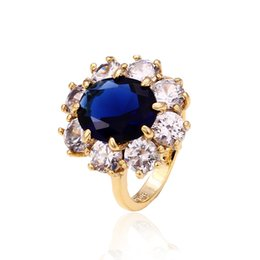 Wholesale Luxury White Blue Zirconia Women Ring Flower Shape k Gold Plated Finger Ring Xuping Brand Meterial Copper Jewelry Ring
