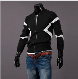 Hot autumn and winter 2016 new men Slim spell color round neck zipper jacket J17
