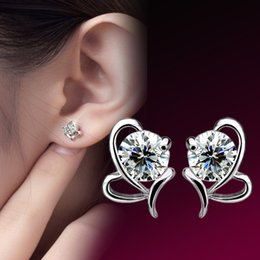 Hot 2015 New Fashion Jewelry The new 925 sterling silver bow heart-shaped water language hypoallergenic stud earrings