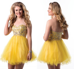 Wholesale A line Sweetheart Epic Formals Mini Short Prom Party Dresses Tulle Backless Crystal Beaaed Yellow Sparkle Formal Homecoming Gowns HY00488