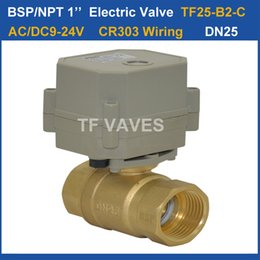 Wholesale TF Electric Ball Valve TF25 S2 C AC DC9 V wires Way DN25 Electrically Operated Valve BSP NPT Full Port Brass Valve