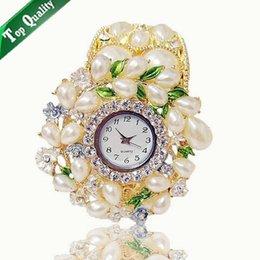 Montres de gros perle à vendre-Grossiste Femme Perle Cristal Bracelet Montre Ladies Cuff Quartz Montre Hot Sale777777777