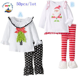 50pcs lot SamgamiBaby Cotton long sleeve Christmas Santa claus lace t-shirt + stripedbell bottoms leggings outfits in stock for Baby girls