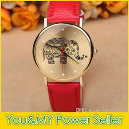 Promotion regarder rose d'or Charm femmes Elephant Montres de luxe Golden Dial Quartz analogique cuir PU bande intelligente Horloge femmes robe Montres montre élégante coloré