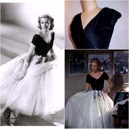 Wholesale 1950s Grace Kelly Dress from Rear Window Gorgeous interpretation with FULL Tulle Layered Skirt White Black Short Sleeves Party dresses new