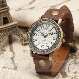 Wholesale WOMAGE Antique Brass vine Case Roman Index Dial Fashion Woman Quartz watch Leather Strap wristwatch