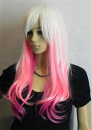 free shipping*****Fashion Charming Mix White Pink Long Straight Women's Wig HC-83003