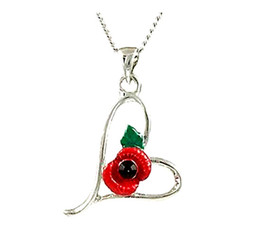 2015 Newest Wholesale Rhodium Silver Plated Necklace Pendants With a Red Poppy Heart Fashion Jewelry Neacklace