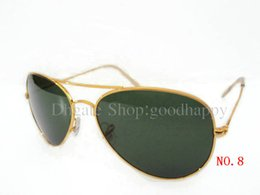 12pcs Lot Hot Style Golden Frame Green lens Sunglasses Uniex Outdoor Cycling Sun Glasses Come With brown Box