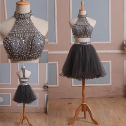 2015 Silver Gray Two Pieces Prom Dresses High Neck Beaded Top Cut Out Waist Homecoming Dress Crystal Rhinestones Short Party Gown Real Image