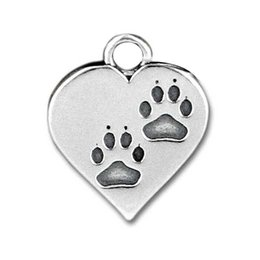 Wholesale Factory Frice KIKI Jewelry Antique Silver Dog Paw Print Heart Charms Fit DIY Bracelet mm mm