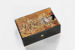 Wholesale antique small wooden jewelry storage box velvet interior high gloss finished