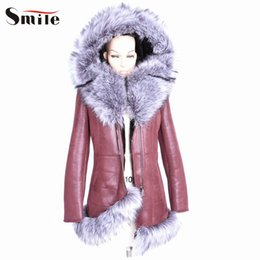 Wholesale Short Leather Jacket Hood - Wholesale-Women Short Style Fake Leather Jacket with Fur Hood Tassel Woman Winter Zipper Deep Brown Artificial Leather Jackets and Coats