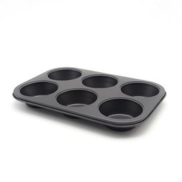 Wholesale Big Size Cup Cake Moulds Muffin Bakeware Pan Mould Maffin Ovenware Baking Tray Pans Dishes FDA High Black Carbon Steel Metal