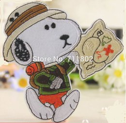 Wholesale Big size dog iron on patch beige animated cartoon patches clothing accessories Embroidered Kids lovely stickers