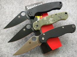 Wholesale 4 styles Spyderco Paramilitary Knife G quot Satin Black S30V Black Digi Camouflage C81GP2 Folding blade pocket knife knives