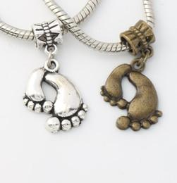Wholesale MIC x17 mm Antique Silver Bronze Big Feet Metal Big Hole Beads Fit European Charm Bracelets B288