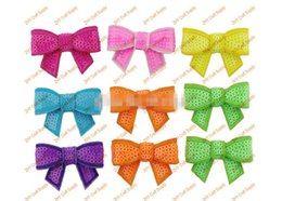 Wholesale 15 off New colors Boutique quot Sequin Bow Without Clips Girl Beauty Bows Hair Accessories Headwear Christmas style