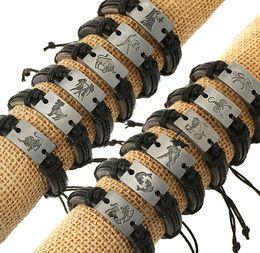 horoscope Black Constellations Charms Genuine Leather Bracelets Alloy Men Women Bracelet Free Shipping of 12 zodiac signs