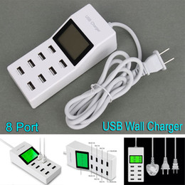 Wholesale 8 Ports USB Wall Charger with LCD Screen US EU UK Plug Travel Socket Wall Power Adapter Direct Chargers For Mobile phone ipad Tablet PC
