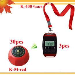 Red pager cafe service order 3 wristwatches with neck rope shows current time when stand-by and 30 1key red table caller