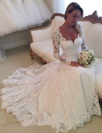 Wholesale Ivory Lace Long Sleeve Wedding Dresses Scoop Neck Sexy See Through Button Bac Court Train Western Wedding Dresses Bridal Gowns Custom LA