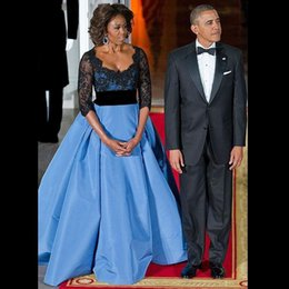Wholesale Custom Made New Michelle Obama Contrast Deep V Neck Lace Appliques Beading Blue Satin Long Sleeve Evening Gowns Sheer